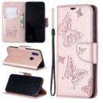 Imprint Butterfly Leather Wallet Case for Xiaomi Redmi 7 / Redmi Y3 – Rose Gold