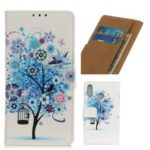Pattern Printing Leather Wallet Case for Asus Zenfone Max Plus (M2) ZB634KL – lue Flower Tree
