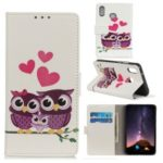 Pattern Printing Wallet Leather Case for Asus Zenfone Max Plus (M2) ZB634KL/Max Shot ZB634KL – Sweet Owl Family