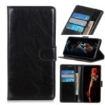 Crazy Horse Wallet Stand Leather Flip Cover Case for OnePlus 7 – Black