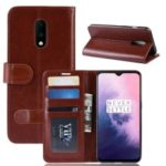 Crazy Horse PU Leather Stand Wallet Flip Casing for OnePlus 7 – Brown