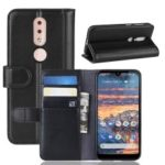 Genuine Split Leather Mobile Case with Wallet Stand for Nokia 4.2 – Black