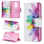 Pattern Printing PU Leather Wallet Stand Flip Cover for Nokia 4.2 – Petals Pattern