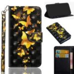 Pattern Printing [Light Spot Decor] PU Leather Stand Wallet Phone Cover with Strap for Nokia 4.2 (2019) – Gold Butterflies