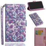 Pattern Printing Light Spot Decor Leather Wallet Cover for Nokia 9 PureView – Paisley Flower