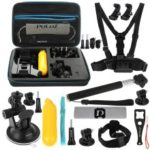 PULUZ PKT11 20 in 1 Accessories Combo Kits with EVA Case Head Strap J-Hook Buckles Tripod Adapter Storage Bag for GoPro