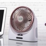 USB Desktop Fan Rechargeable Circuiting Fan Power Bank + Night Light D75 – Rose Gold