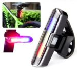 Red/Blue/White 3-Color Rear Cycling Bike Tail Light COB Highly Bright USB Chargeable