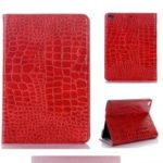 Crocodile Skin Wallet Stand Leather Tablet Case for iPad mini (2019) 7.9 inch/mini 4/3/2/1 – Red