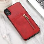 PU Leather Coated TPU Phone Back Case with Zipper for iPhone XS Max – Red