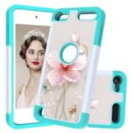 2 in 1 Pattern Printing TPU+PU Leather Coated Phone Case for Apple iPod touch (2019) / iPod Touch 6 / Touch 5 – Cyan / Flower