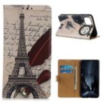 Pattern Printing Leather Wallet Case for iPhone (2019) 5.8-inch – Eiffel Tower and Characters