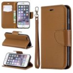 Litchi Texture Leather Wallet Stand Case for iPhone 6/6S – Brown