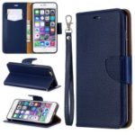 Litchi Texture Leather Wallet Stand Case for iPhone 6 Plus – Dark Blue