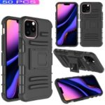 [50pcs]3-in-1 Armor Anti-fall Waist Belt Clip TPU PC Hybrid Case for iPhone (2019) 5.8-inch – All Black