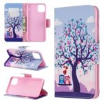 Cross Texture Pattern Printing Wallet Stand Leather Case for iPhone (2019) 6.5-inch – Couple Owls and Tree
