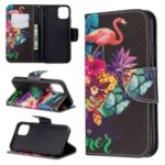 Cross Texture Pattern Printing Leather Wallet Stand Phone Case for iPhone (2019) 6.1-inch – Flamingos and Flowers