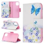 Printing Style Leather Wallet Phone Covering Case for iPhone (2019) 6.1-inch – Blue Butterfly and Flowers