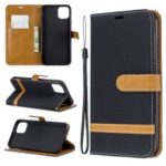 Jeans Cloth Wallet Stand Leather Cell Phone Shell for iPhone (2019) 6.5-inch – Black