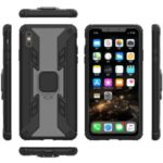 Warrior Style Rotating Ring Kickstand PC+TPU Hybrid Phone Case for iPhone XS Max 6.5 inch – Black