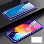 Metal Frame + Tempered Glass Back Magnetic Hybrid Shell for Samsung Galaxy A50 – Blue