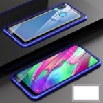 Metal Frame + Tempered Glass Back Magnetic Hybrid Shell for Samsung Galaxy A40 – Blue