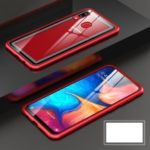 Metal Frame + Tempered Glass Back Magnetic Hybrid Phone Casing for Samsung Galaxy A30/A20 – Red