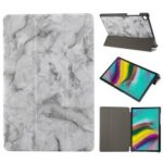 Marble Texture Tri-fold PU Leather + PC Stand Tablet Shell for Samsung Galaxy Tab S5e SM-T720 – Black