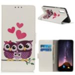 Pattern Printing Leather Wallet Case for Samsung Galaxy A10e – Owls and Hearts