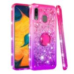 Rhinestone Decor Gradient Glitter Powder Quicksand TPU Shell with Finger Ring Buckle for Samsung Galaxy A30/A20 – Red/Purple