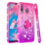 Rhinestone Decor Gradient Glitter Powder Quicksand TPU Casing with Finger Ring Buckle for Samsung Galaxy M30 – Red/Purple
