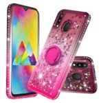 Rhinestone Decor Gradient Glitter Powder Quicksand TPU Cover with Finger Ring Buckle for Samsung Galaxy M20 –  Brown/Red