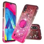 Rhinestone Decor Gradient Glitter Powder Quicksand TPU Cover with Finger Ring Buckle for Samsung Galaxy A10/M10 – Brown/Red
