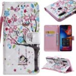 Light Spot Decor Patterned Leather Wallet Case for Samsung Galaxy A20/A30 – Flowered Tree