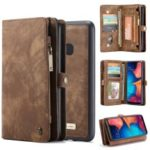 CASEME for Samsung Galaxy A20/30 2-in-1 Multi-slot Wallet Vintage Split Leather Case – Brown