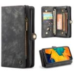 CASEME for Samsung Galaxy A70 2-in-1 TPU Multi-slot Wallet Vintage Split Leather Case – Black
