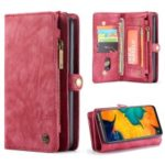 CASEME 2-in-1 Multi-slot Wallet Vintage Split Leather Phone Case for Samsung Galaxy A50 – Red