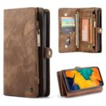 CASEME 2-in-1 Multi-slot Wallet Vintage Split Leather Phone Case for Samsung Galaxy A50 – Brown