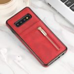 Zipper Wallet PU Leather+ Soft TPU Mobile Phone Cover for Samsung Galaxy S10 Plus – Red