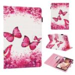 Cross Texture Pattern Printing Wallet Stand PU Leather Tablet Case for Samsung Galaxy Tab A 8 (2019) SM-P200 (Wi-Fi) / SM-P205 (LTE) – Red Butterflies and Flowers