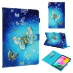 Pattern Printing Wallet Stand PU Leather Tablet Protective Case for Samsung Galaxy Tab A 10.1 (2019) T510/T515 – Golden Butterflies