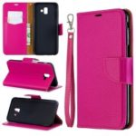 Litchi Texture PU Leather Phone Wallet Stand Cover Case for Samsung Galaxy J6 Plus (2018) – Rose