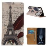 Patterned Printing Magnetic Wallet Leather Phone Cover for Samsung Galaxy A10e – Eiffel Tower and Feather