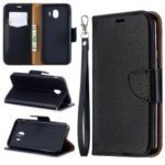 Litchi Texture PU Leather Phone Wallet Stand Cover Case for Samsung Galaxy J4 (2018) – Black