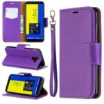 Litchi Texture Leather Wallet Stand Case for Samsung Galaxy J6 (2018) – Purple