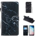 Pattern Printing Leather Wallet Stand Phone Shell for Samsung Galaxy S10 Plus – Blue Marbling