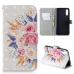 Light Spot Decor Pattern Printing Leather Wallet Case for Samsung Galaxy A50 – Vivid Flowers