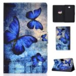 Shock-proof Pattern Printing Card Slot Stand PU Leather Tablet Cover for Samsung Galaxy Tab A 10.1 (2016) T580 – Blue Butterflies