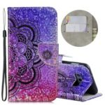 Dazzling Laser Carving Pattern Printing Wallet Stand Leather Phone Case with Strap for Samsung Galaxy S10e – Flower