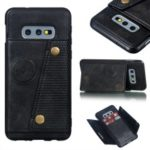 PU Leather Coated TPU Card Holder Magnetic Kickstand Mobile Phone Case for Samsung Galaxy S10e – Black